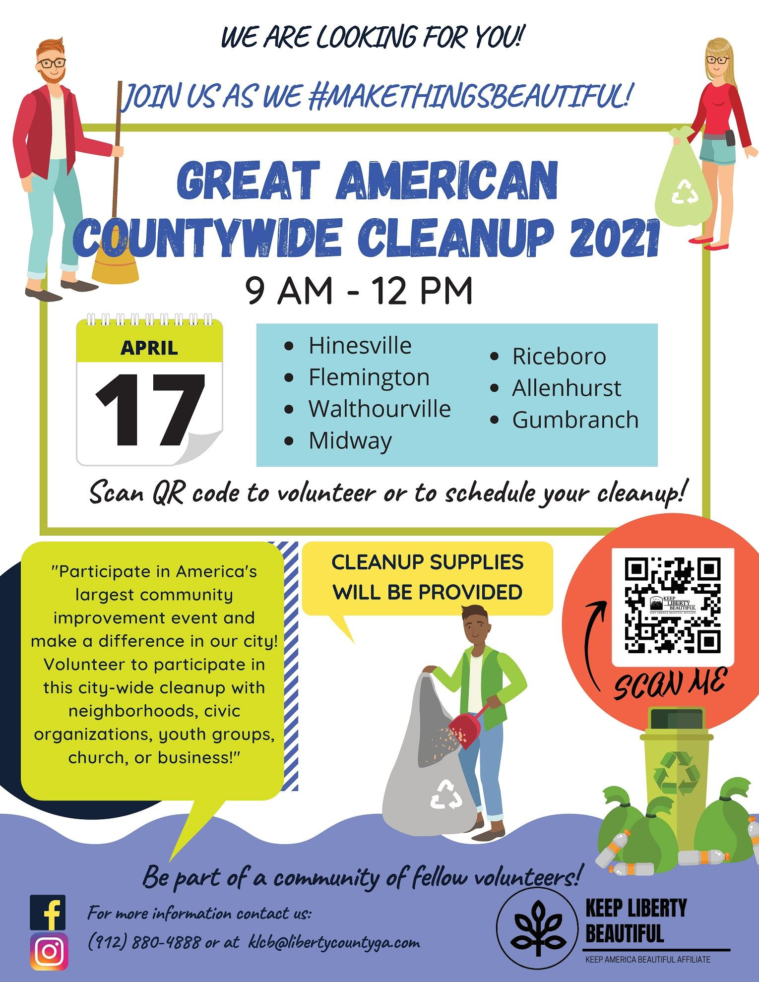 Flyer for Great American cleanup activities in Liberty County on April 17