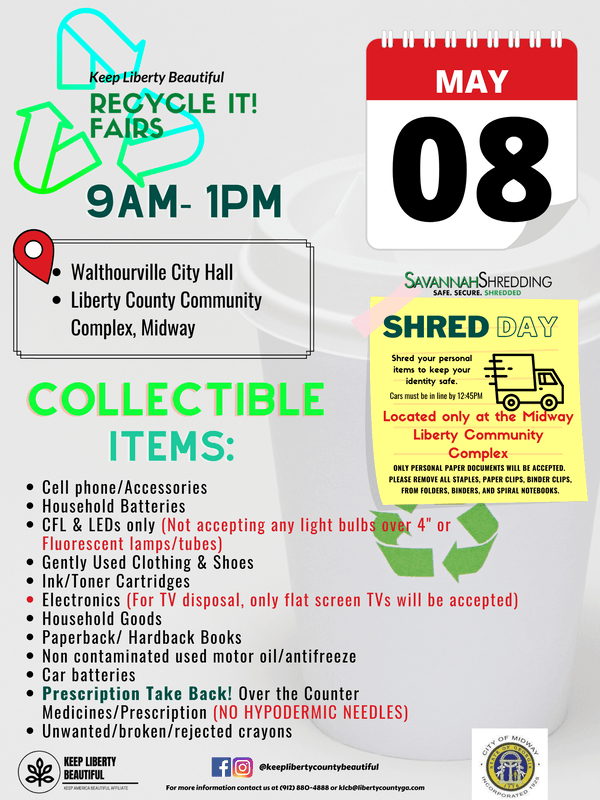 Flyer for Recycling Fair on May 8th listing acceptable items